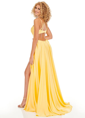 Rachel Allan 70056 prom dress images.  Rachel Allan 70056 is available in these colors: Fuchsia, Royal, Yellow.