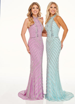 Rachel Allan 70057 prom dress images.  Rachel Allan 70057 is available in these colors: Aqua Silver, Lilac Silver.