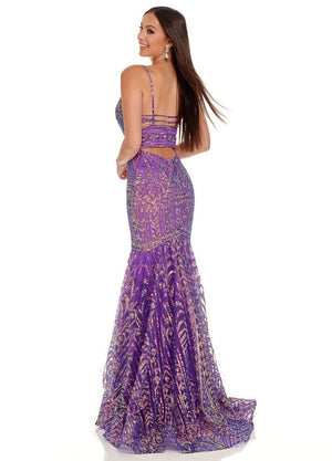 Rachel Allan 70071 prom dress images.  Rachel Allan 70071 is available in these colors: Jade Iridescent, Violet Iridescent.