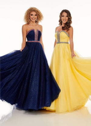 Rachel Allan 70084 prom dress images.  Rachel Allan 70084 is available in these colors: Navy Multi, Yellow Multi.