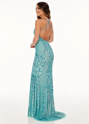 Rachel Allan 70088 prom dress images.  Rachel Allan 70088 is available in these colors: Aqua, Soft Coral.