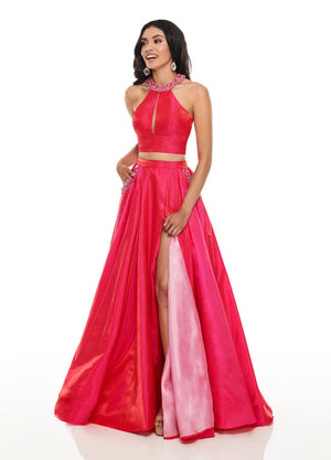 Rachel Allan 7009 prom dress images.  Rachel Allan 7009 is available in these colors: Fuchsia Pink, Purple Pink, Royal Light Blue.