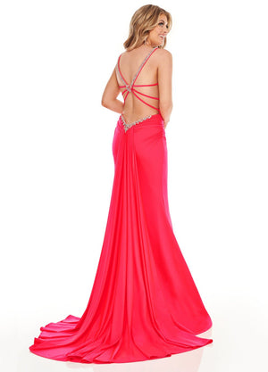 Rachel Allan 70093 prom dress images.  Rachel Allan 70093 is available in these colors: Navy, Watermelon.