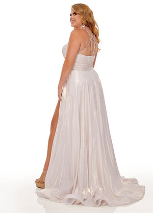 Rachel Allan 70098W prom dress images.  Rachel Allan 70098W is available in these colors: Aqua Blue, Soft Gold.