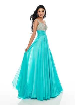 Rachel Allan 7018 prom dress images.  Rachel Allan 7018 is available in these colors: Aqua Blue, Yellow.