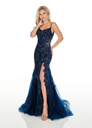 Rachel Allan 7027 prom dress images.  Rachel Allan 7027 is available in these colors: Navy, Red.