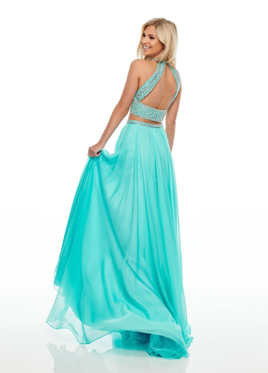 Rachel Allan 7034 prom dress images.  Rachel Allan 7034 is available in these colors: Aqua, Fuchsia, Yellow.