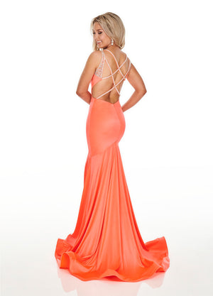Rachel Allan 7042 prom dress images.  Rachel Allan 7042 is available in these colors: Flamingo, Hot Coral, Lilac, Turquoise.