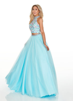 Rachel Allan 7066 prom dress images.  Rachel Allan 7066 is available in these colors: Aqua Blue Multi, Navy Multi, Nude Multi.
