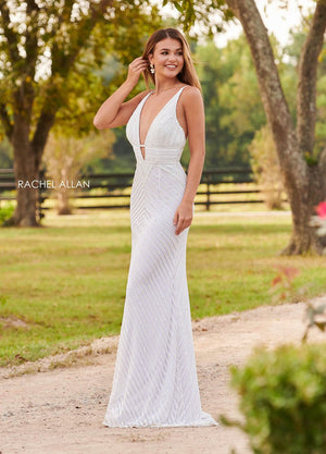 Rachel Allan 7067 prom dress images.  Rachel Allan 7067 is available in these colors: Champagne, White.