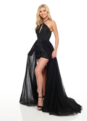 Rachel Allan 7070 prom dress images.  Rachel Allan 7070 is available in these colors: Black, Royal, Violet.