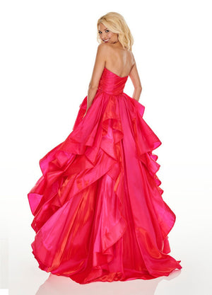 Rachel Allan 7074 prom dress images.  Rachel Allan 7074 is available in these colors: Magenta, Turquoise, Yellow.