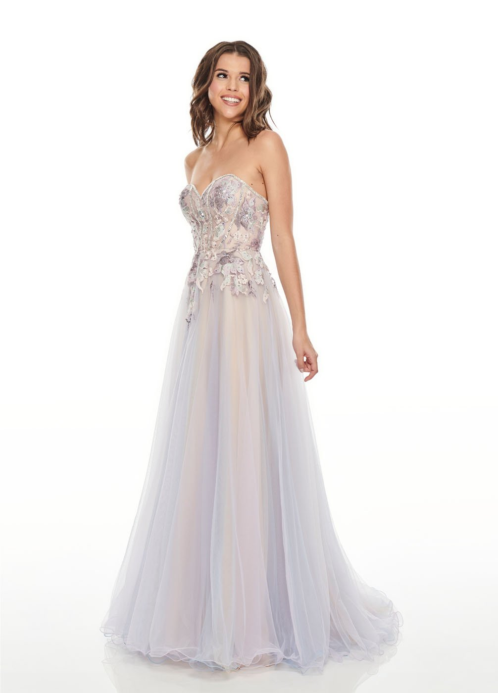 Rachel Allan 7076 prom dress images.  Rachel Allan 7076 is available in these colors: Lilac Nude, Mint Nude.