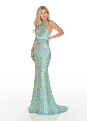 Rachel Allan 7077 prom dress images.  Rachel Allan 7077 is available in these colors: Aqua Gold, Black Cherry, White Gold.