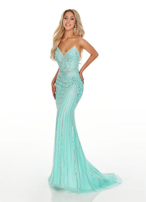 Rachel Allan 7084 prom dress images.  Rachel Allan 7084 is available in these colors: Aqua, Nude.