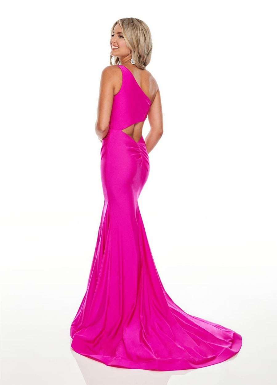 Rachel Allan 7100 prom dress images.  Rachel Allan 7100 is available in these colors: Fuchsia, Tangerine, Yellow.