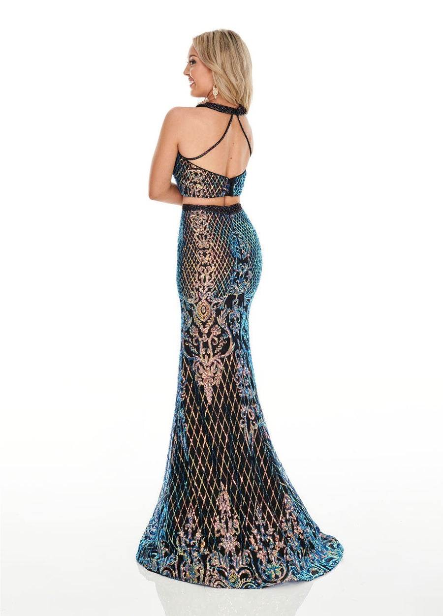 Rachel Allan 7110 prom dress images.  Rachel Allan 7110 is available in these colors: Black Iridescent, Royal Iridescent, Teal Iridescent.
