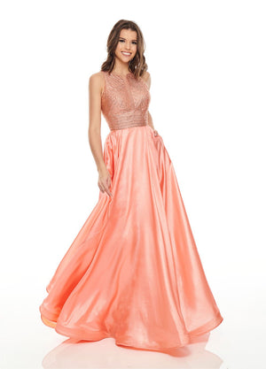Rachel Allan 7116 prom dress images.  Rachel Allan 7116 is available in these colors: Coral, Fuchsia, Ocean.