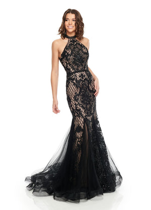 Rachel Allan 7123 prom dress images.  Rachel Allan 7123 is available in these colors: Black Nude, Blush, Periwinkle, Red Nude.