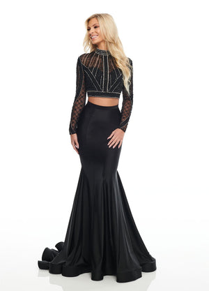 Rachel Allan 7128 prom dress images.  Rachel Allan 7128 is available in these colors: Black, Red, Royal.