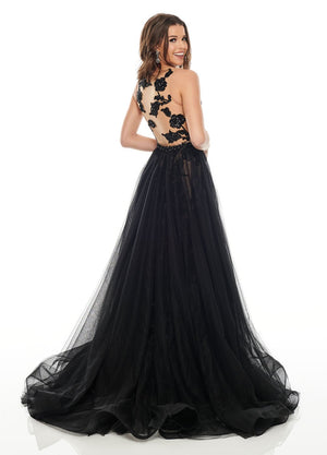 Rachel Allan 7130 prom dress images.  Rachel Allan 7130 is available in these colors: Black Nude, Silver Nude.