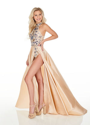 Rachel Allan 7135 prom dress images.  Rachel Allan 7135 is available in these colors: Champagne Multi, Royal Multi, Black Multi.