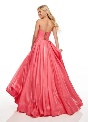 Rachel Allan 7139 prom dress images.  Rachel Allan 7139 is available in these colors: Coral, Ocean Blue,, Red.