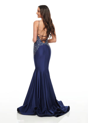 Rachel Allan 7144 prom dress images.  Rachel Allan 7144 is available in these colors: Aqua, Blush, Navy.