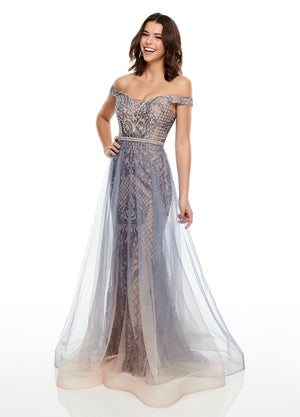 Rachel Allan 7164 prom dress images.  Rachel Allan 7164 is available in these colors: Gunmetal Ombre, Indigo Ombre.