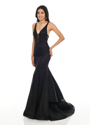 Rachel Allan 7173 prom dress images.  Rachel Allan 7173 is available in these colors: Black, Emerald, Magenta.