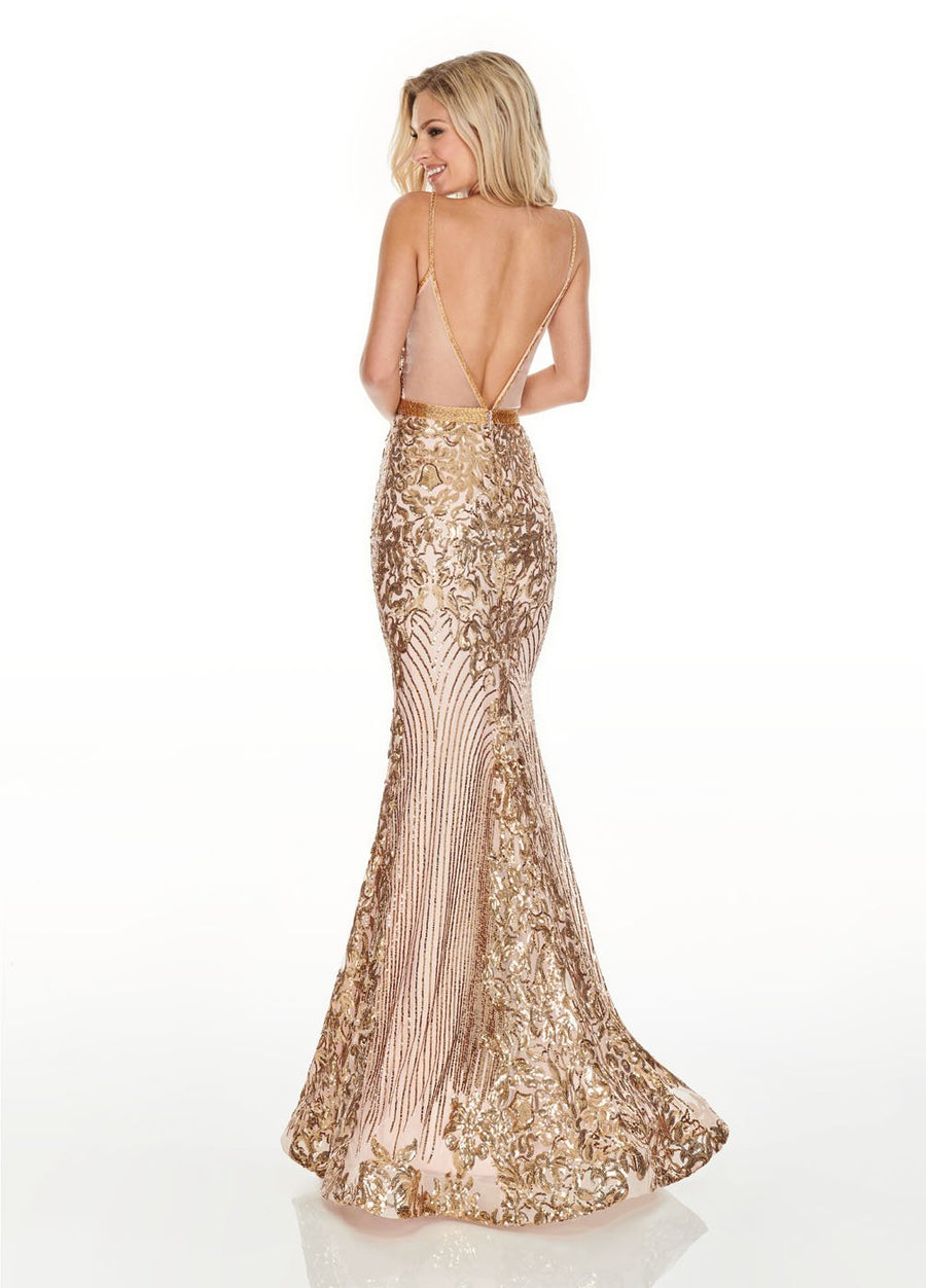 Rachel Allan 7177 prom dress images.  Rachel Allan 7177 is available in these colors: Blush Gold, Lilac Gold, Silver Gold.