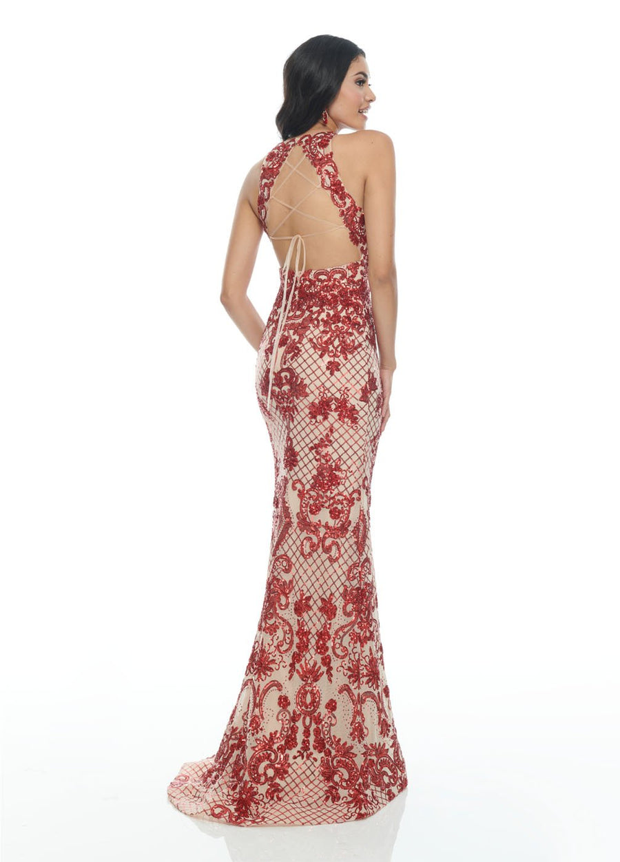 Rachel Allan 7194 prom dress images.  Rachel Allan 7194 is available in these colors: Burgundy Nude, Pink Iridescent, Powder Blue Iridescent.