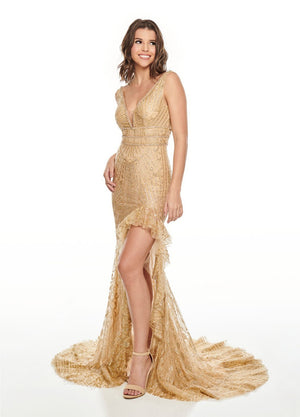 Rachel Allan 7208 prom dress images.  Rachel Allan 7208 is available in these colors: Hunter Green, Light Gold.