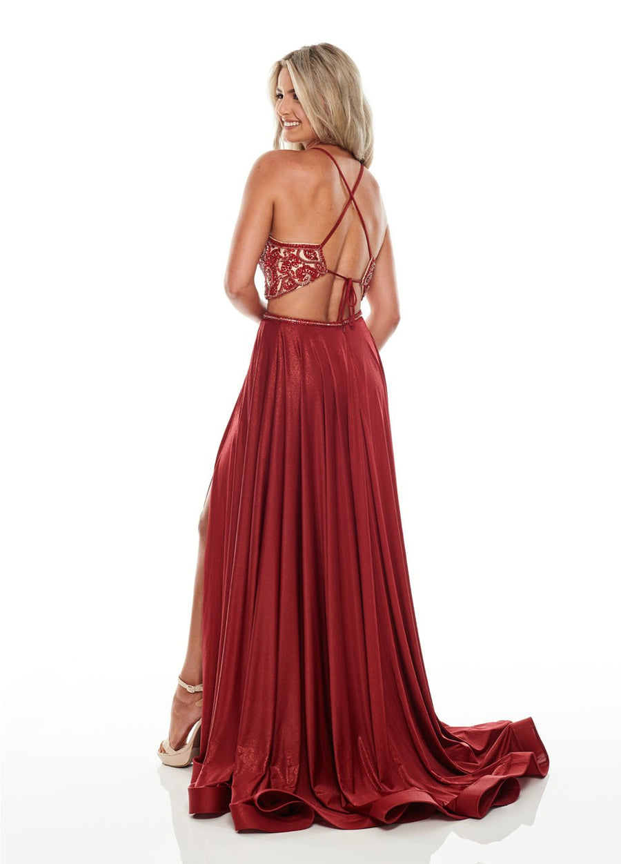 Rachel Allan 7209 prom dress images.  Rachel Allan 7209 is available in these colors: Burgundy, Royal, Teal.