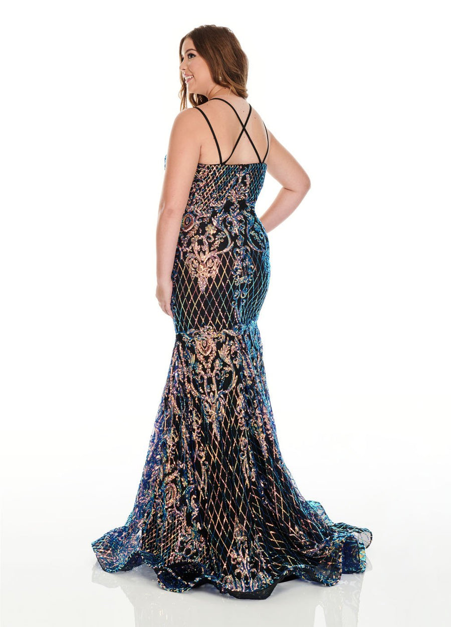 Rachel Allan 7216 prom dress images.  Rachel Allan 7216 is available in these colors: Black Iridescent, Teal Iridescent.