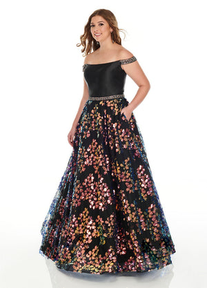 Rachel Allan 7218 prom dress images.  Rachel Allan 7218 is available in these colors: Black Multi, Blush, Rose Gold.