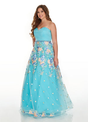 Rachel Allan 7219 prom dress images.  Rachel Allan 7219 is available in these colors: Aqua Multi, Navy Multi, Pink Multi.