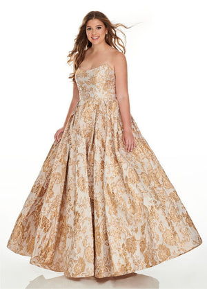 Rachel Allan 7224 prom dress images.  Rachel Allan 7224 is available in these colors: Champagne Gold, Perwinkle Silver.