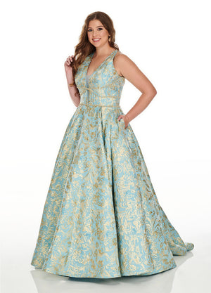 Rachel Allan 7226 prom dress images.  Rachel Allan 7226 is available in these colors: Aqua Gold, Ivory Gold.