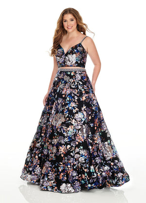 Rachel Allan 7227 prom dress images.  Rachel Allan 7227 is available in these colors: Black Multi, Nude Multi.