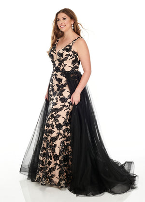 Rachel Allan 7228 prom dress images.  Rachel Allan 7228 is available in these colors: Black Nude, Silver Nude.