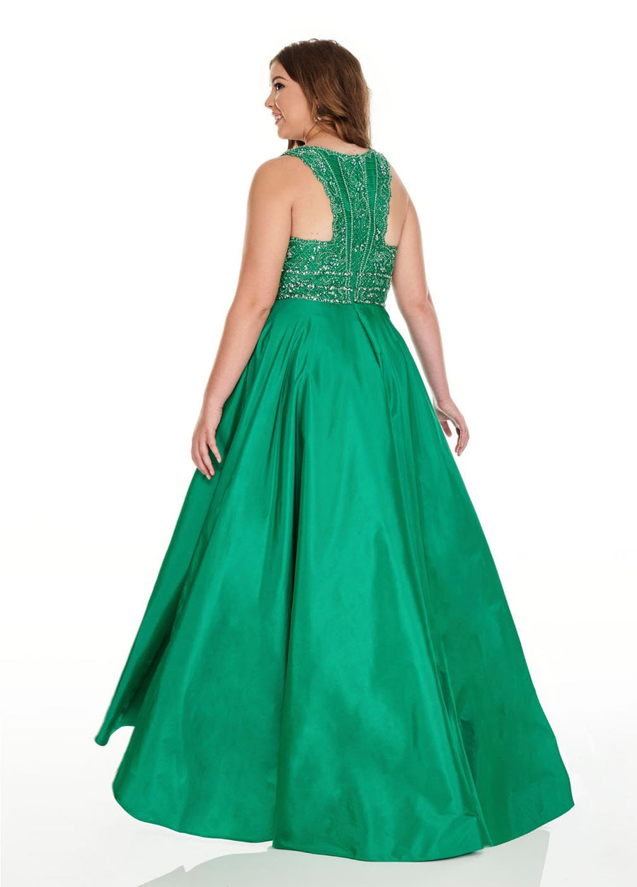 Rachel Allan 7232 prom dress images.  Rachel Allan 7232 is available in these colors: Emerald, Purple.