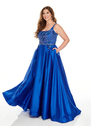Rachel Allan 7234 prom dress images.  Rachel Allan 7234 is available in these colors: Red, Royal.