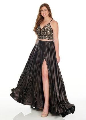 Rachel Allan 7235 prom dress images.  Rachel Allan 7235 is available in these colors: Black, Burgundy, Royal.