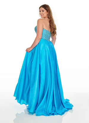 Rachel Allan 7236 prom dress images.  Rachel Allan 7236 is available in these colors: Blush, Ocean Blue, Hot Coral.