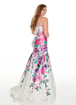 Rachel Allan 7238 prom dress images.  Rachel Allan 7238 is available in these colors: Lilac Multi, White Multi.