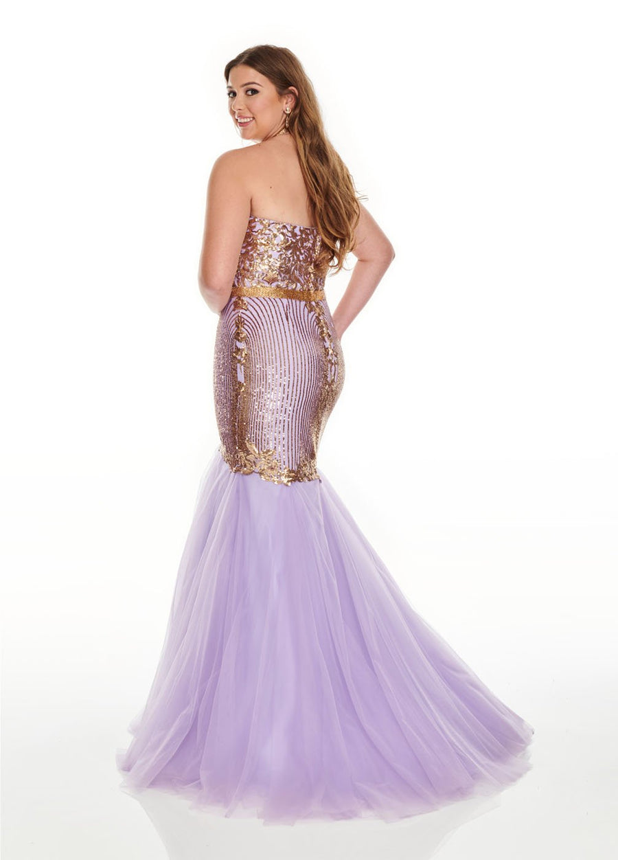 Rachel Allan 7240 prom dress images.  Rachel Allan 7240 is available in these colors: Lilac Gold, Silver Gold.