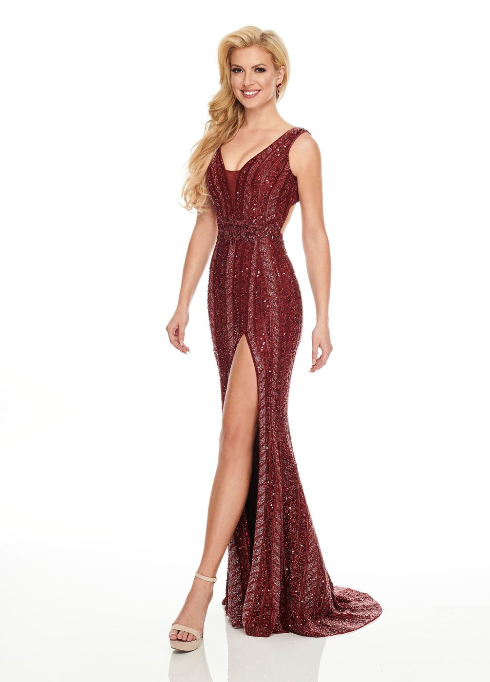 Rachel Allan 8432 prom dress images.  Rachel Allan 8432 is available in these colors: Deep Red, Navy Iridescent.