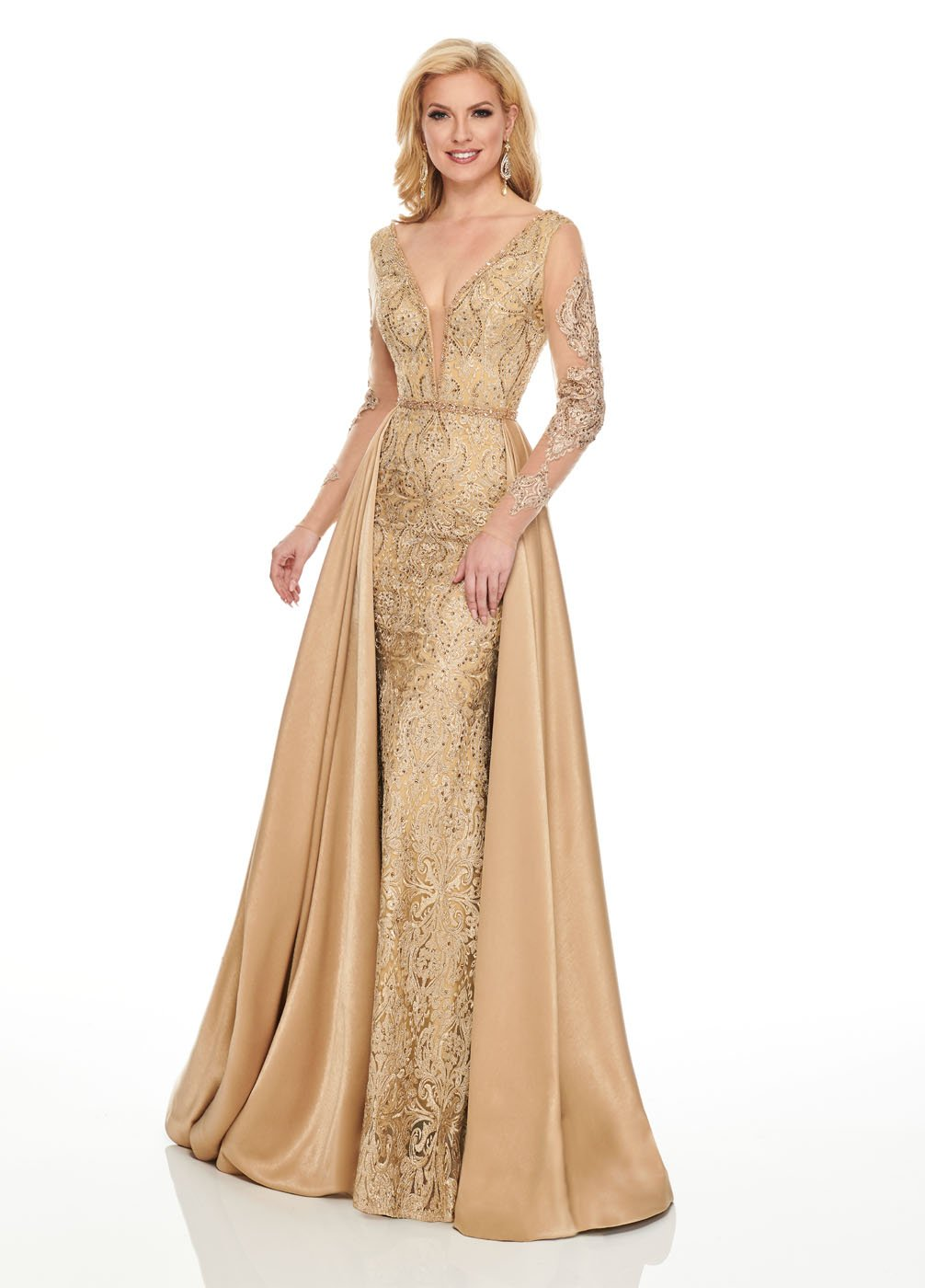 Rachel Allan 8433 prom dress images.  Rachel Allan 8433 is available in these colors: Gold, Wine.