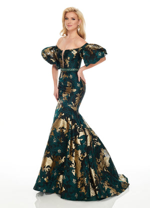 Rachel Allan 8436 prom dress images.  Rachel Allan 8436 is available in these colors: Emerald Gold, Red Gold.